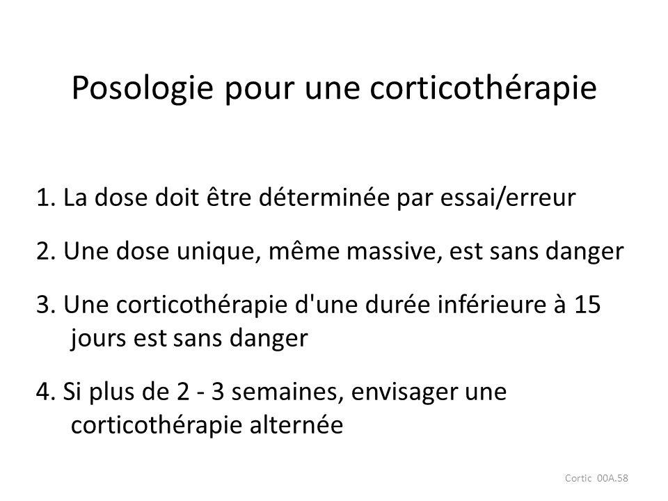 Cortic 00A.58 1. La dose doit être déterminée par essai/erreur 2. Une dose unique, même massive, est sans danger 3. Une corticothérapie d'une durée in