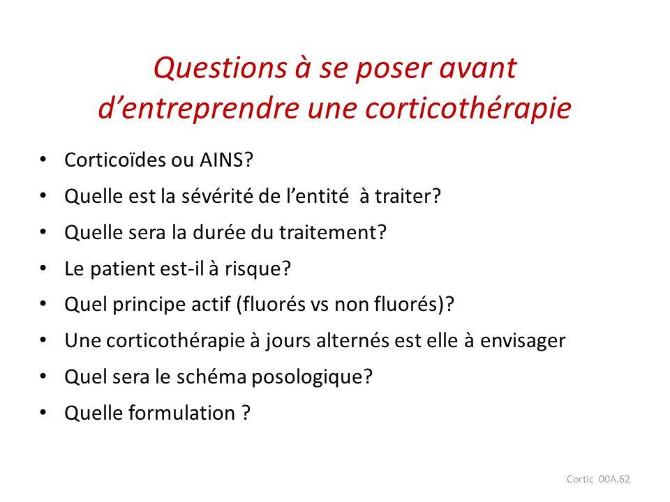 Cortic 00A.62 Questions à se poser avant dentreprendre une corticothérapie Corticoïdes ou AINS? Quelle est la sévérité de lentité à traiter? Quelle se