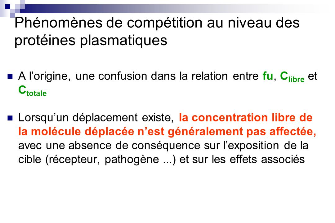 Phénomènes de compétition au niveau des protéines plasmatiques A lorigine, une confusion dans la relation entre fu, C libre et C totale Lorsquun dépla