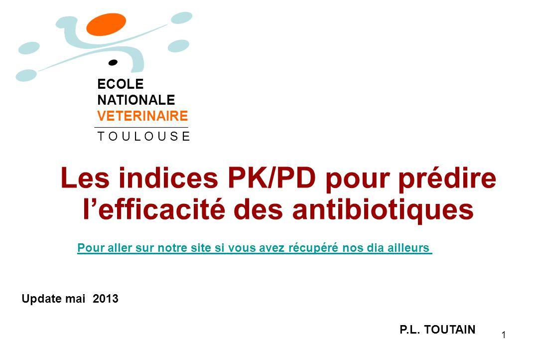 1 Les indices PK/PD pour prédire lefficacité des antibiotiques P.L. TOUTAIN ECOLE NATIONALE VETERINAIRE T O U L O U S E Update mai 2013 Pour aller sur
