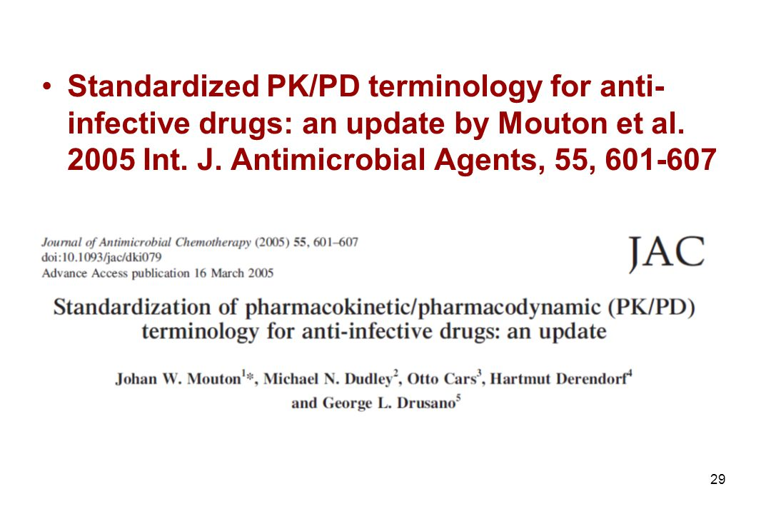 29 Standardized PK/PD terminology for anti- infective drugs: an update by Mouton et al.