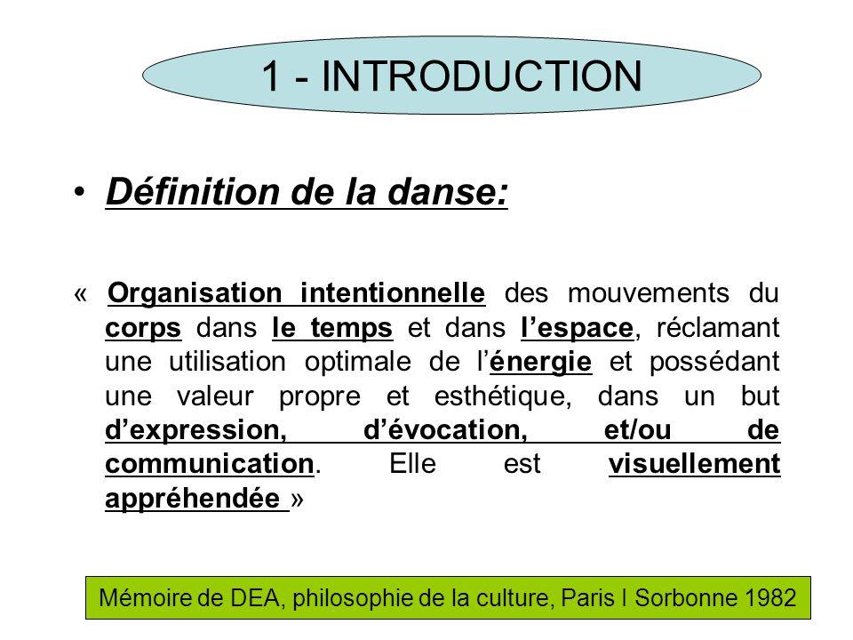 Définition de la danse: « Organisation intentionnelle des mouvements du corps dans le temps et dans lespace, réclamant une utilisation optimale de lén