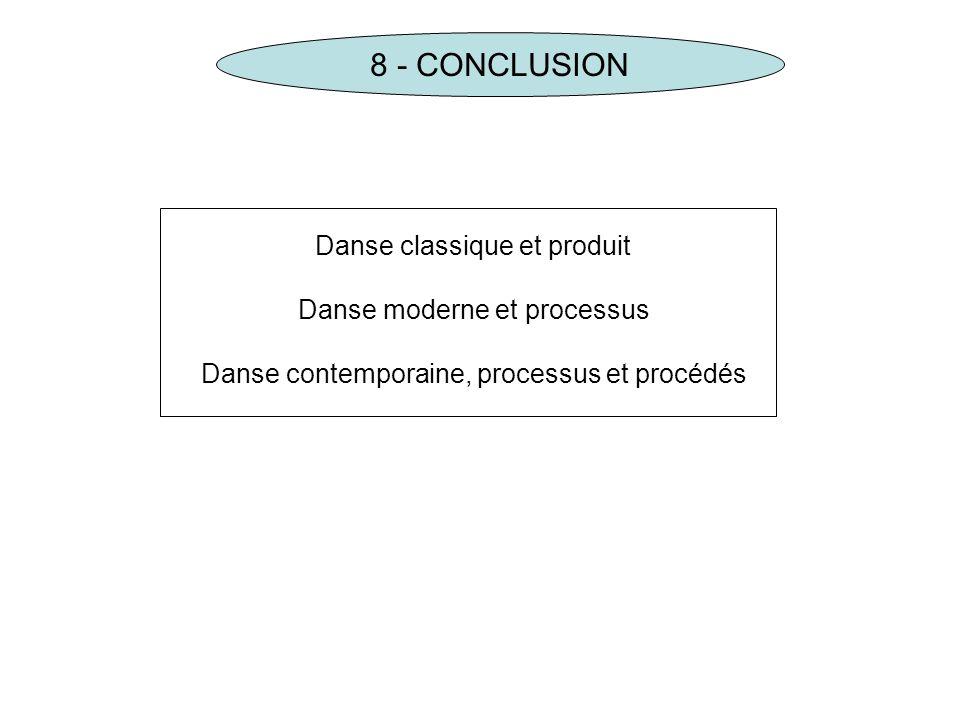 8 - CONCLUSION Danse classique et produit Danse moderne et processus Danse contemporaine, processus et procédés