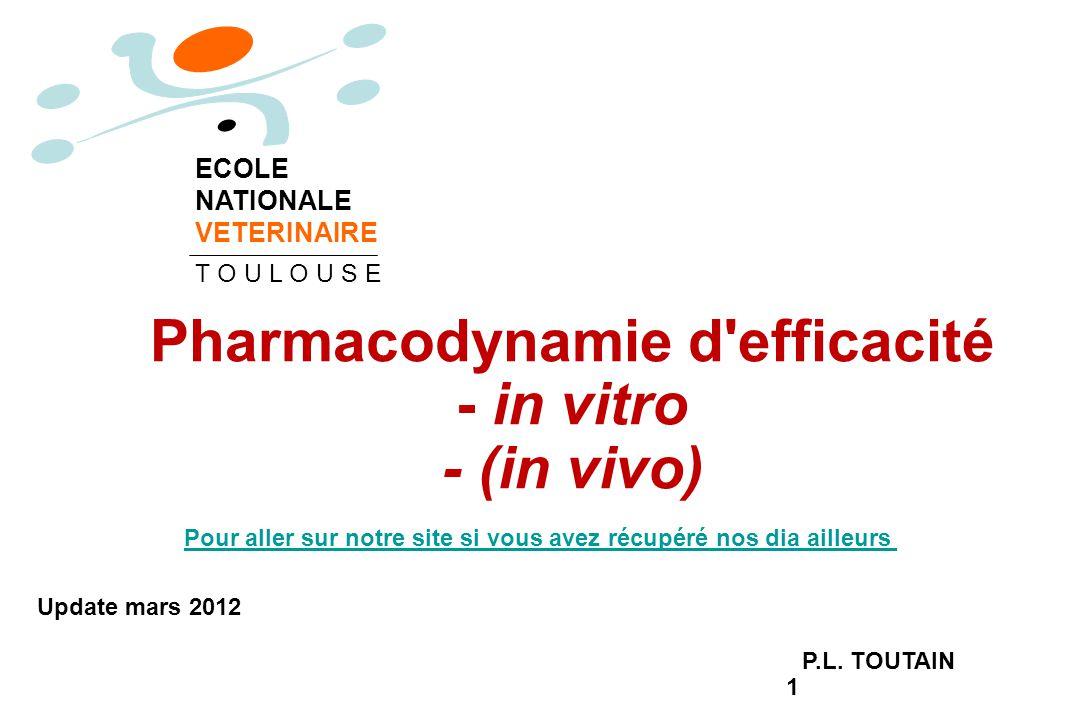 1 Pharmacodynamie d'efficacité - in vitro - (in vivo) P.L. TOUTAIN ECOLE NATIONALE VETERINAIRE T O U L O U S E Update mars 2012 Pour aller sur notre s