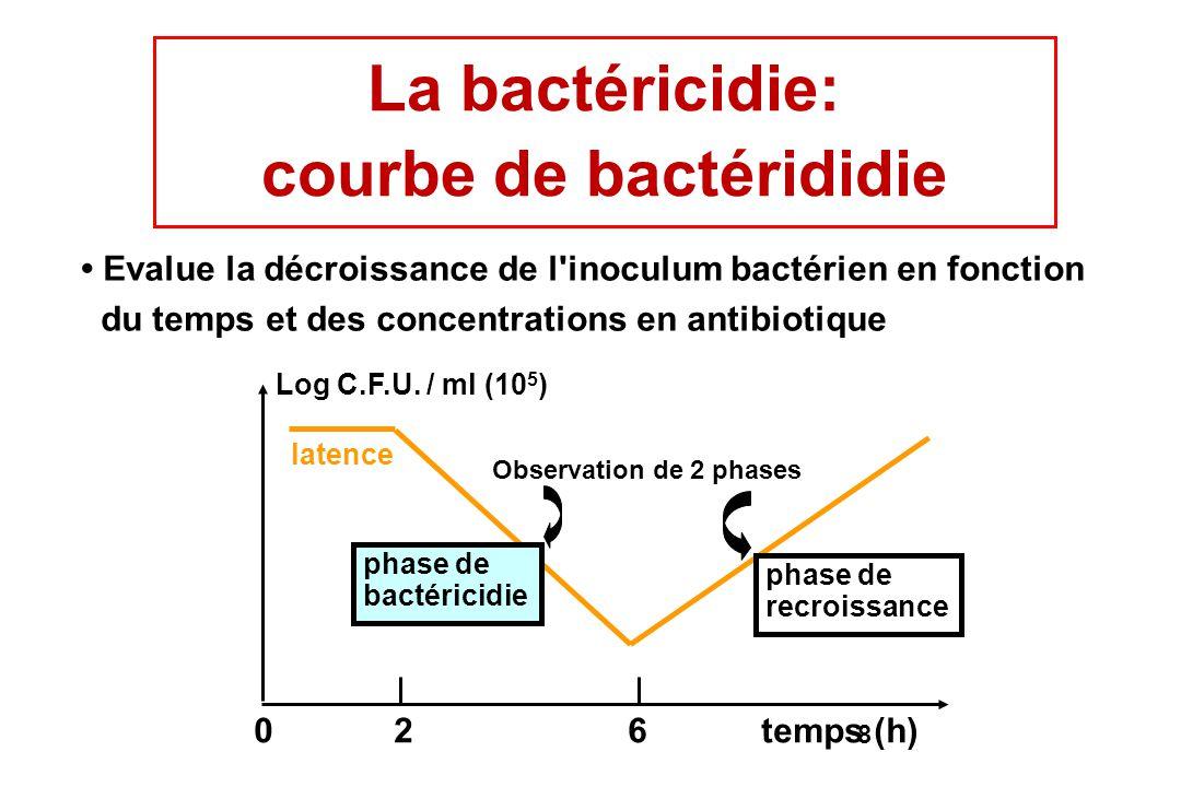 8 Evalue la décroissance de l'inoculum bactérien en fonction du temps et des concentrations en antibiotique Log C.F.U. / ml (10 5 ) latence phase de b