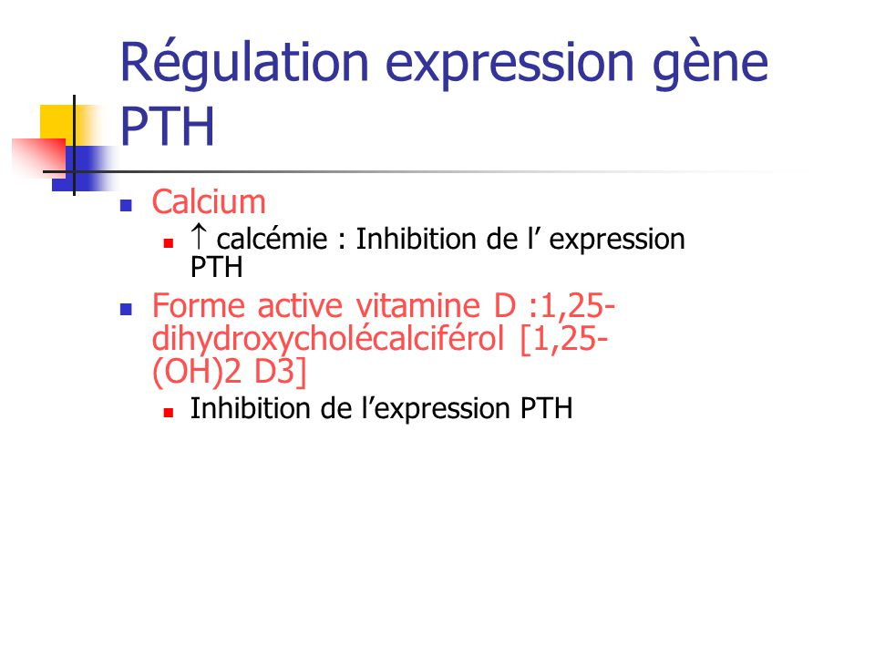 Régulation expression gène PTH Calcium calcémie : Inhibition de l expression PTH Forme active vitamine D :1,25- dihydroxycholécalciférol [1,25- (OH)2 D3] Inhibition de lexpression PTH