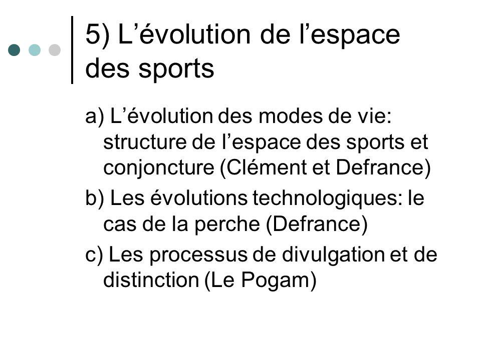 5) Lévolution de lespace des sports a) Lévolution des modes de vie: structure de lespace des sports et conjoncture (Clément et Defrance) b) Les évolut