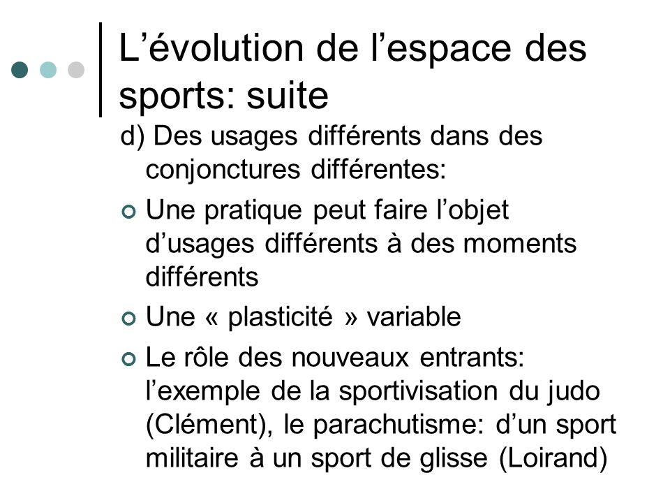 Lévolution de lespace des sports: suite d) Des usages différents dans des conjonctures différentes: Une pratique peut faire lobjet dusages différents