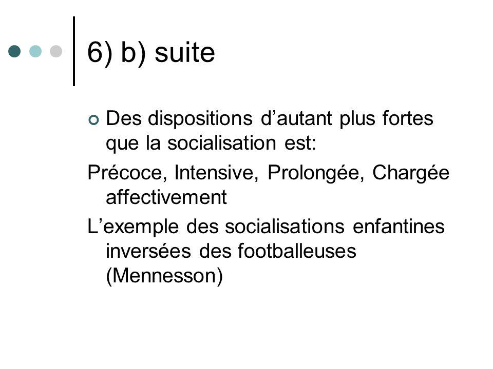 6) b) suite Des dispositions dautant plus fortes que la socialisation est: Précoce, Intensive, Prolongée, Chargée affectivement Lexemple des socialisa