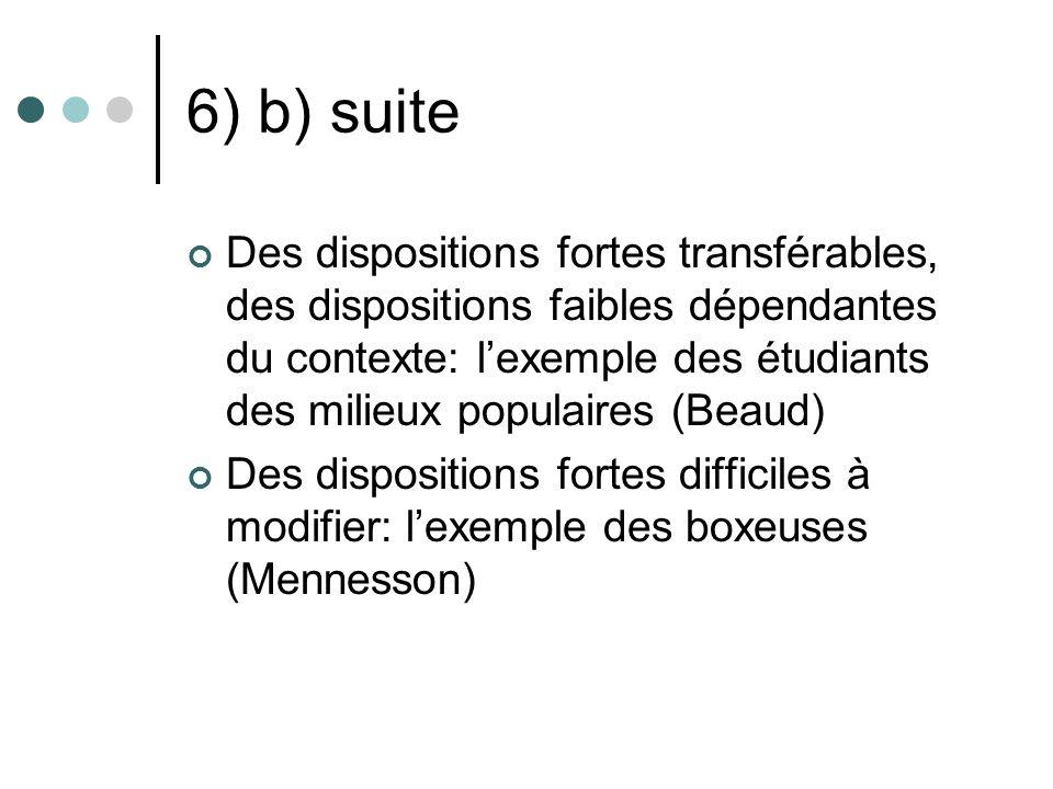 6) b) suite Des dispositions fortes transférables, des dispositions faibles dépendantes du contexte: lexemple des étudiants des milieux populaires (Be