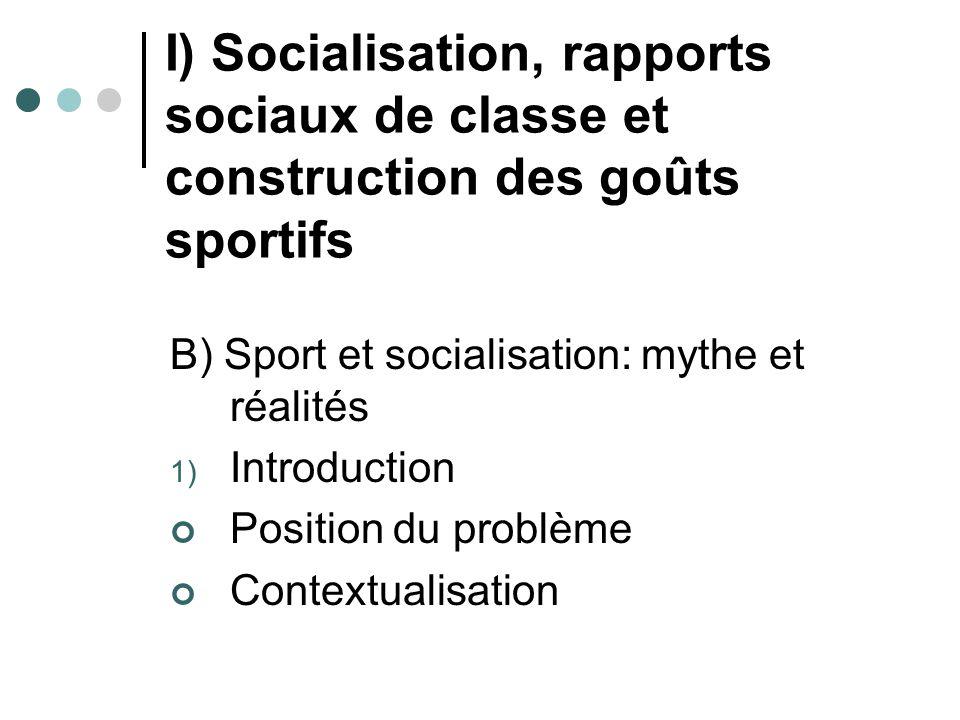I) Socialisation, rapports sociaux de classe et construction des goûts sportifs B) Sport et socialisation: mythe et réalités 1) Introduction Position
