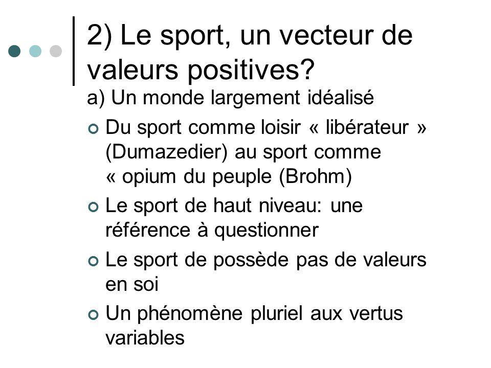 2) Le sport, un vecteur de valeurs positives? a) Un monde largement idéalisé Du sport comme loisir « libérateur » (Dumazedier) au sport comme « opium