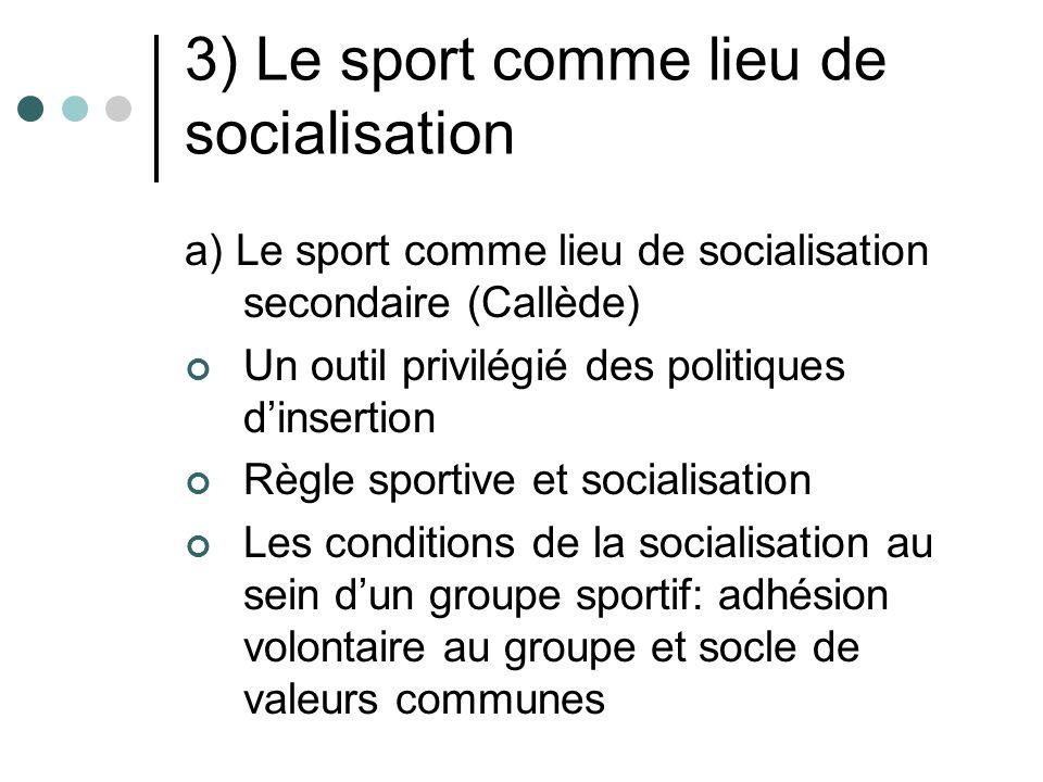 3) Le sport comme lieu de socialisation a) Le sport comme lieu de socialisation secondaire (Callède) Un outil privilégié des politiques dinsertion Règ