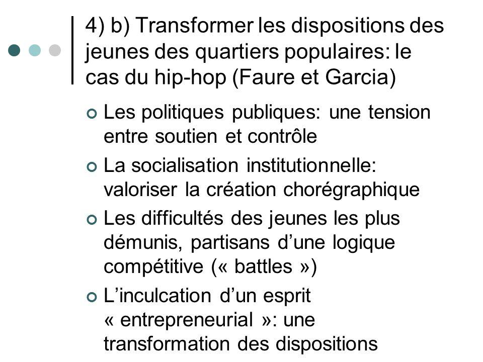 4) b) Transformer les dispositions des jeunes des quartiers populaires: le cas du hip-hop (Faure et Garcia) Les politiques publiques: une tension entr