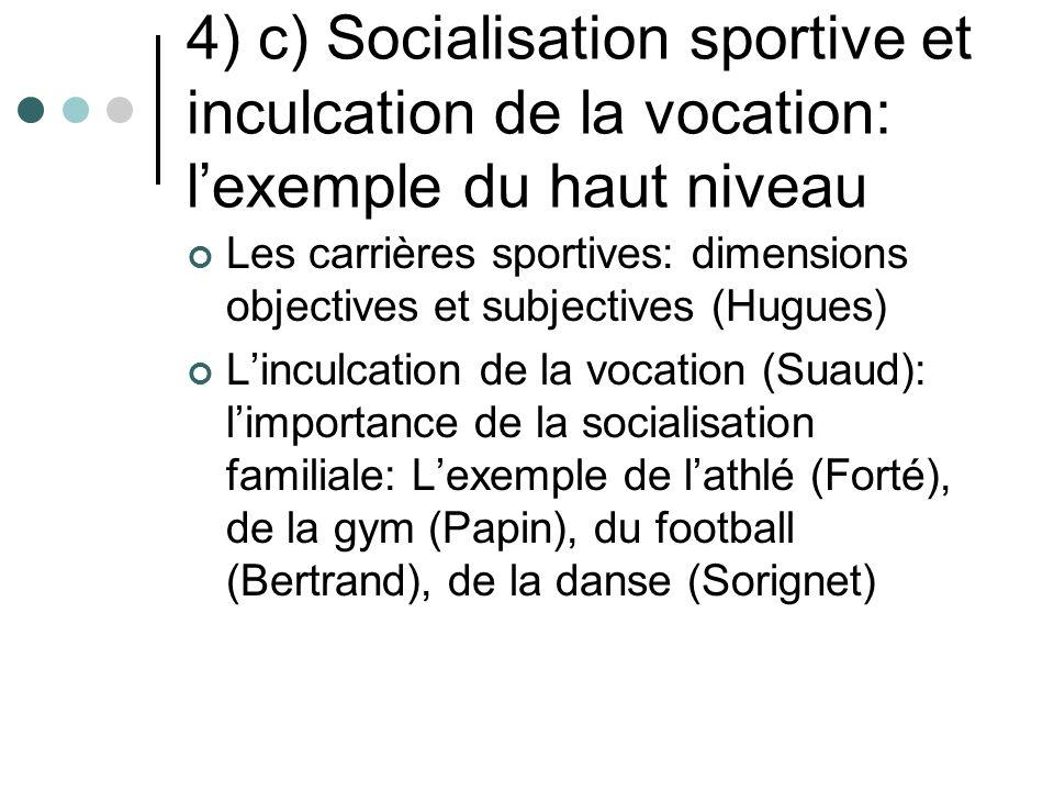 4) c) Socialisation sportive et inculcation de la vocation: lexemple du haut niveau Les carrières sportives: dimensions objectives et subjectives (Hug