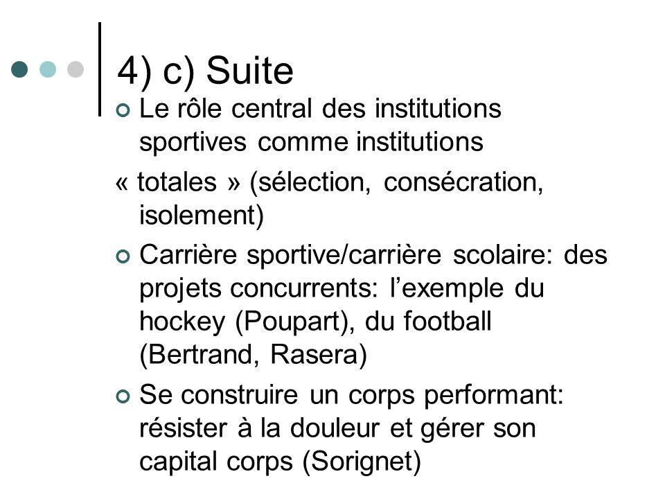 4) c) Suite Le rôle central des institutions sportives comme institutions « totales » (sélection, consécration, isolement) Carrière sportive/carrière