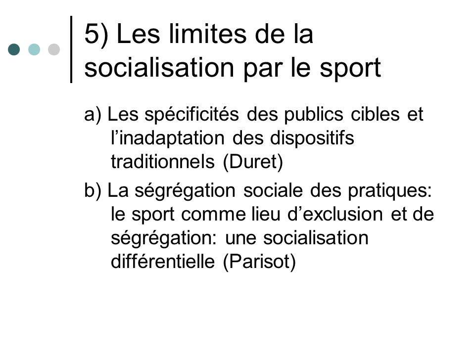 5) Les limites de la socialisation par le sport a) Les spécificités des publics cibles et linadaptation des dispositifs traditionnels (Duret) b) La sé