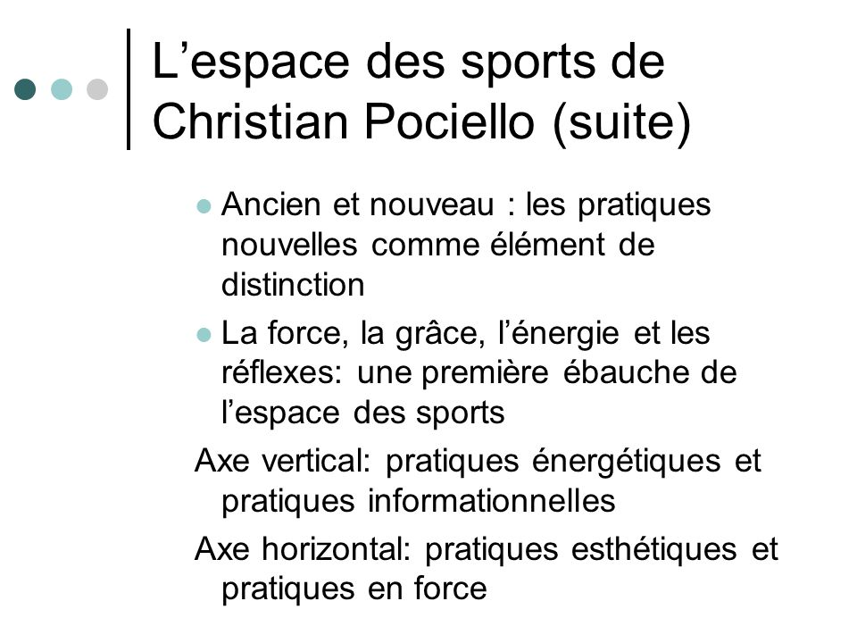 Lespace des sports de Christian Pociello (suite) Ancien et nouveau : les pratiques nouvelles comme élément de distinction La force, la grâce, lénergie