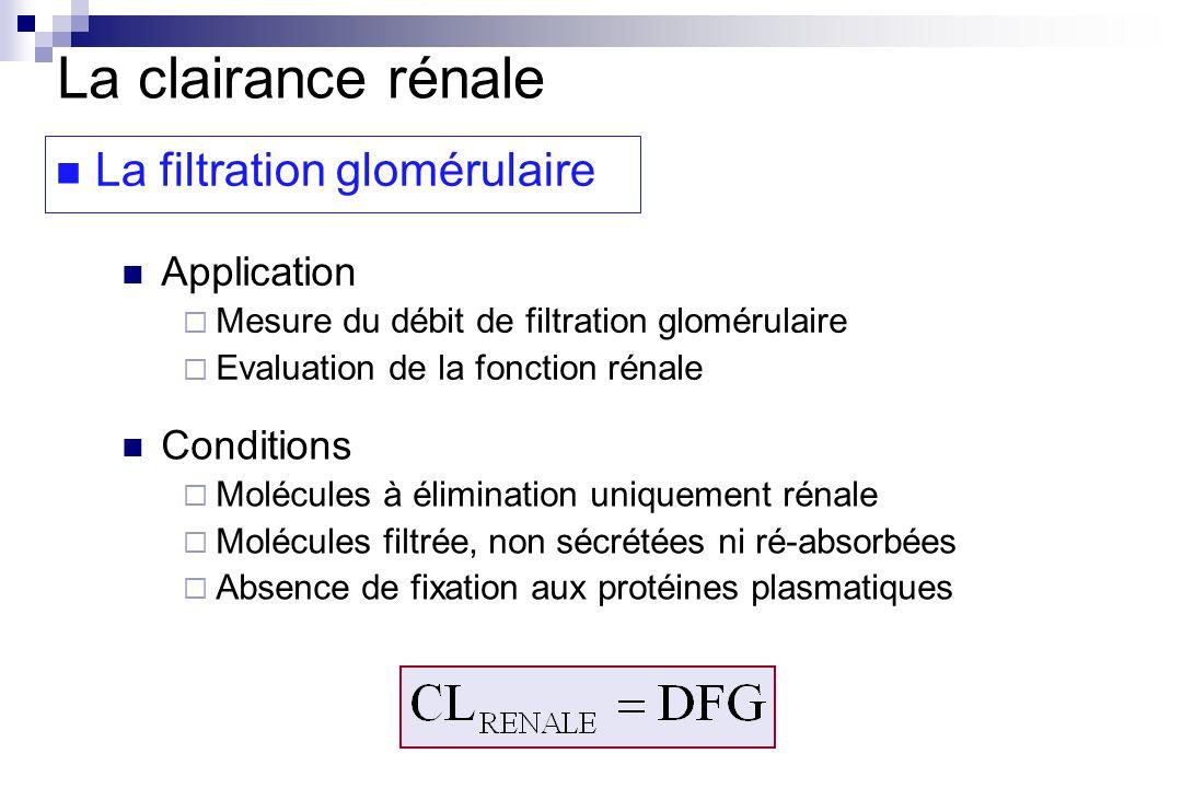La clairance rénale La filtration glomérulaire Application Mesure du débit de filtration glomérulaire Evaluation de la fonction rénale Conditions Molécules à élimination uniquement rénale Molécules filtrée, non sécrétées ni ré-absorbées Absence de fixation aux protéines plasmatiques