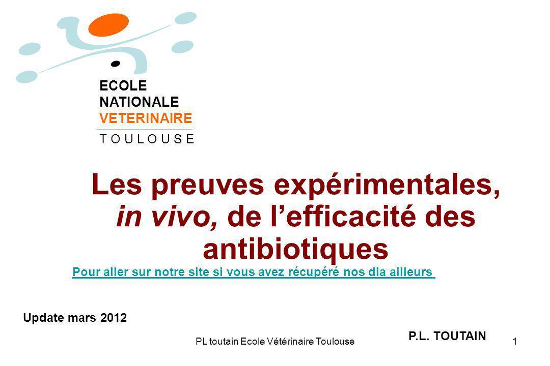 PL toutain Ecole Vétérinaire Toulouse1 Les preuves expérimentales, in vivo, de lefficacité des antibiotiques P.L.