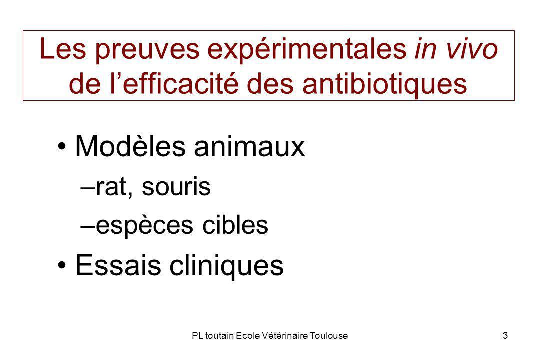 PL toutain Ecole Vétérinaire Toulouse3 Les preuves expérimentales in vivo de lefficacité des antibiotiques Modèles animaux –rat, souris –espèces cibles Essais cliniques