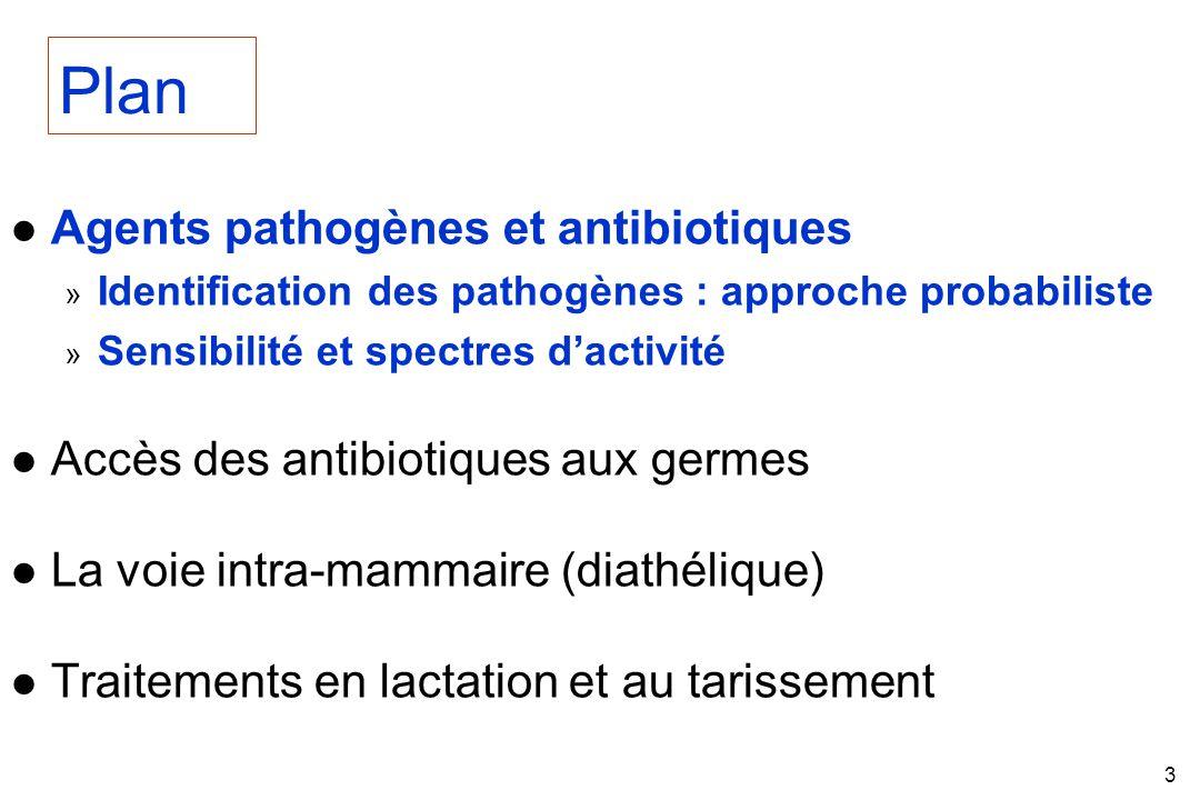 3 l Agents pathogènes et antibiotiques » Identification des pathogènes : approche probabiliste » Sensibilité et spectres dactivité l Accès des antibiotiques aux germes l La voie intra-mammaire (diathélique) l Traitements en lactation et au tarissement Plan