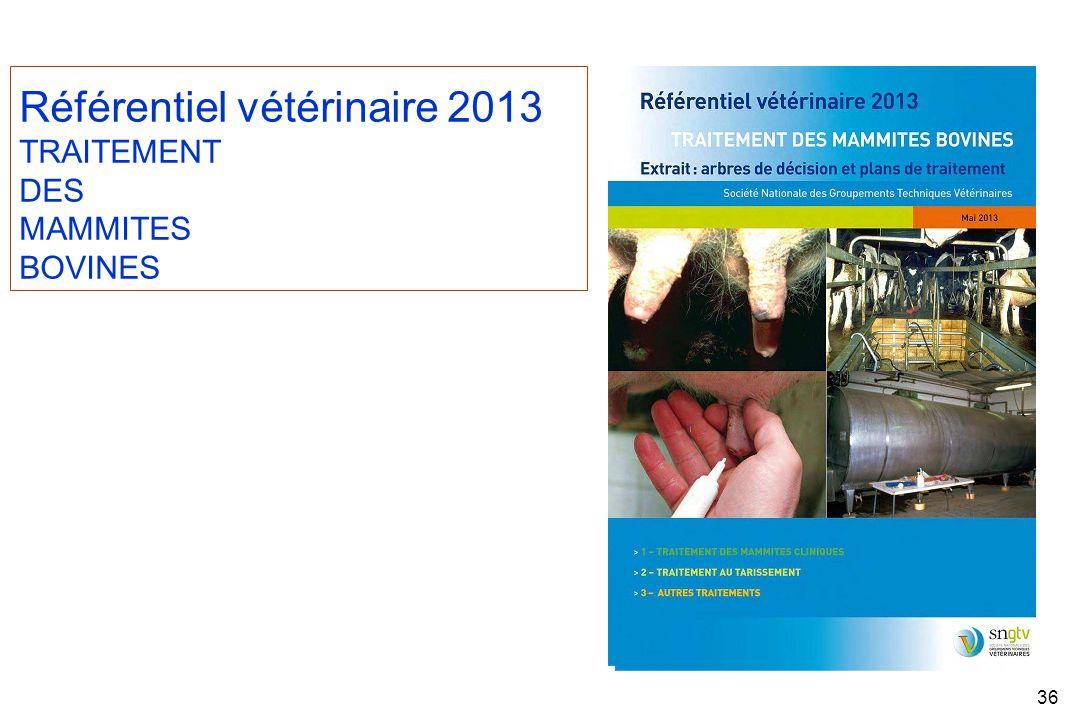 36 Référentiel vétérinaire 2013 TRAITEMENT DES MAMMITES BOVINES