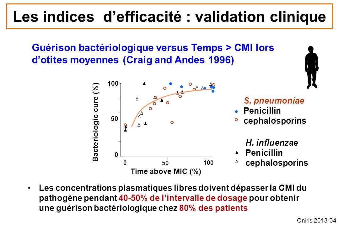 Les indices defficacité : validation clinique Les concentrations plasmatiques libres doivent dépasser la CMI du pathogène pendant 40-50% de lintervall
