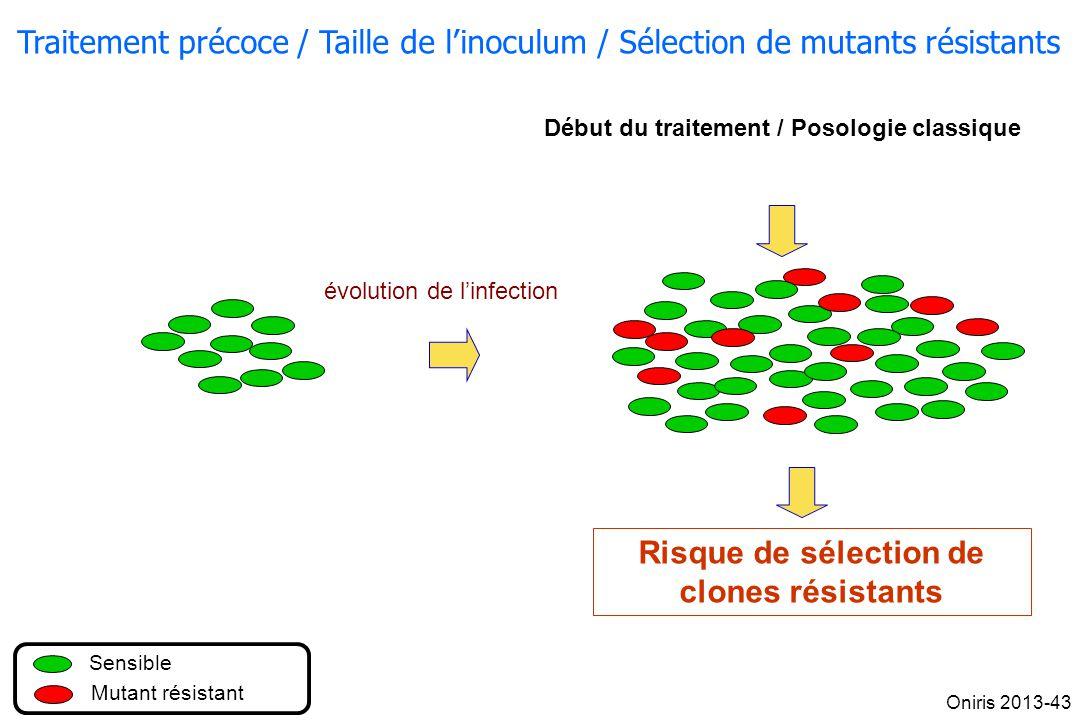 Traitement précoce / Taille de linoculum / Sélection de mutants résistants Début du traitement / Posologie classique évolution de linfection Sensible
