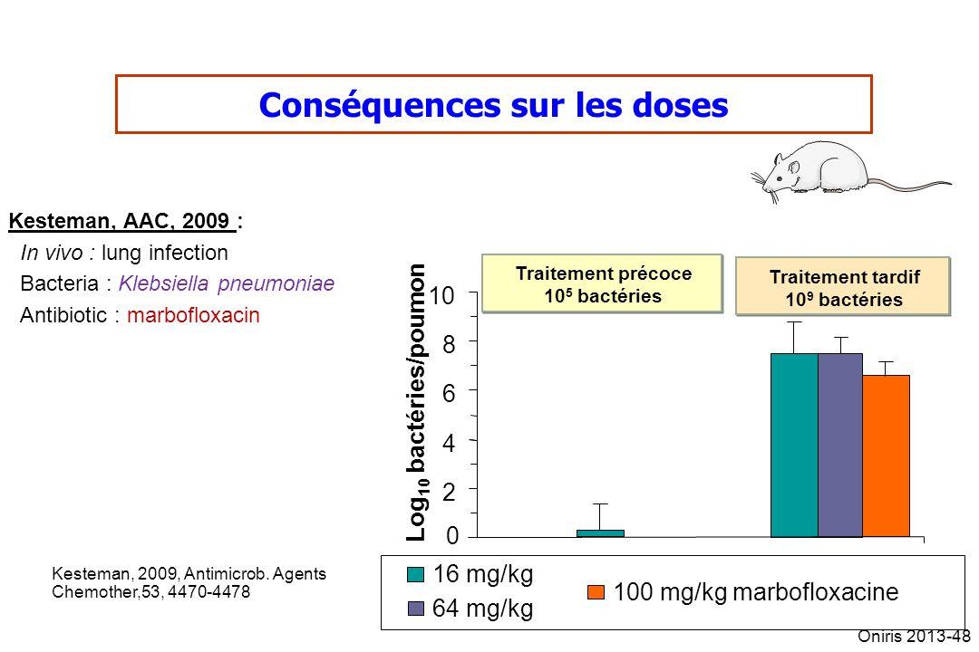 16 mg/kg 64 mg/kg 100 mg/kg marbofloxacine Traitement précoce 10 5 bactéries Traitement précoce 10 5 bactéries Traitement tardif 10 9 bactéries Traite