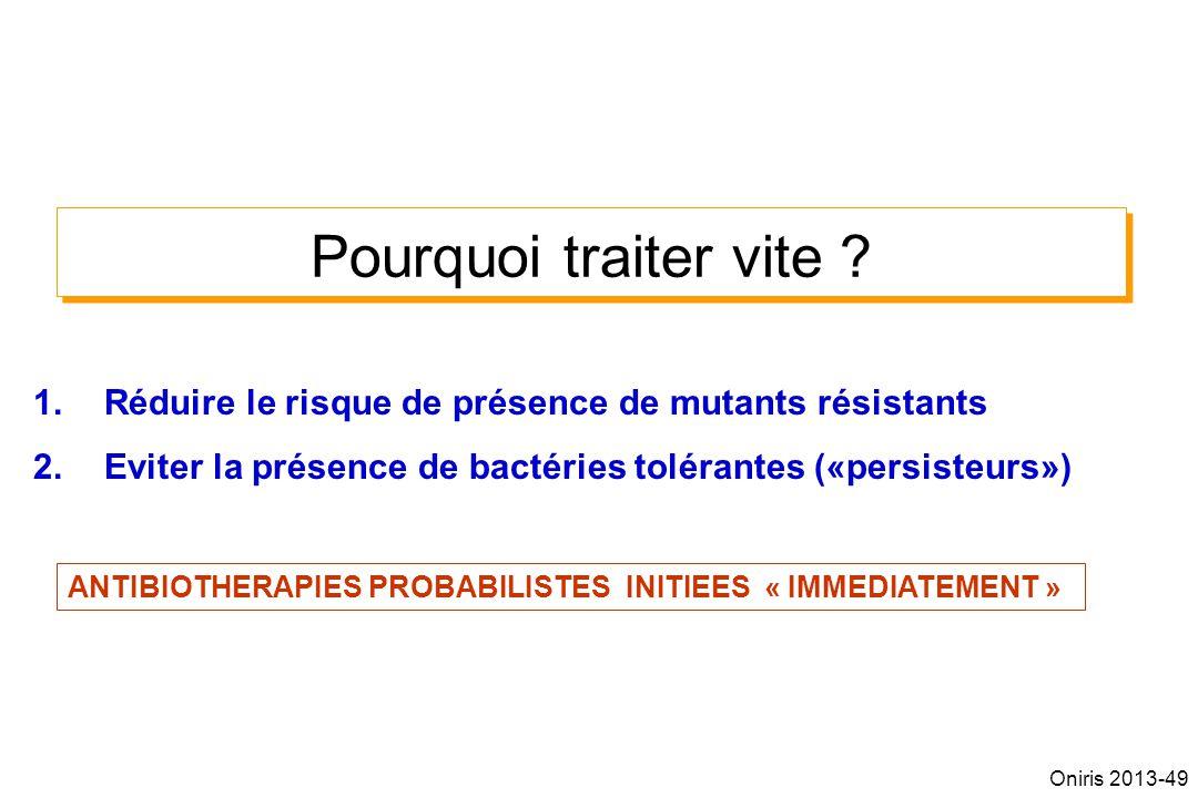 Pourquoi traiter vite ? 1.Réduire le risque de présence de mutants résistants 2.Eviter la présence de bactéries tolérantes («persisteurs») ANTIBIOTHER