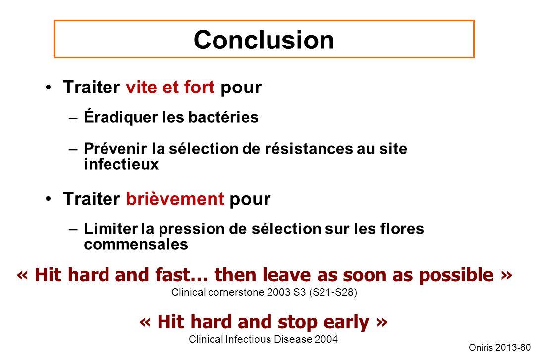 Conclusion Traiter vite et fort pour –Éradiquer les bactéries –Prévenir la sélection de résistances au site infectieux Traiter brièvement pour –Limite