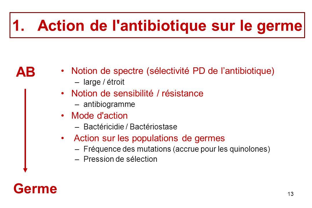 13 1.Action de l'antibiotique sur le germe Notion de spectre (sélectivité PD de lantibiotique) –large / étroit Notion de sensibilité / résistance –ant