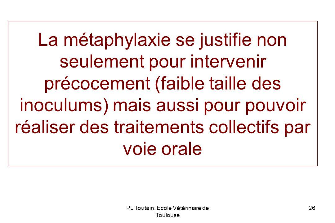 La métaphylaxie se justifie non seulement pour intervenir précocement (faible taille des inoculums) mais aussi pour pouvoir réaliser des traitements c