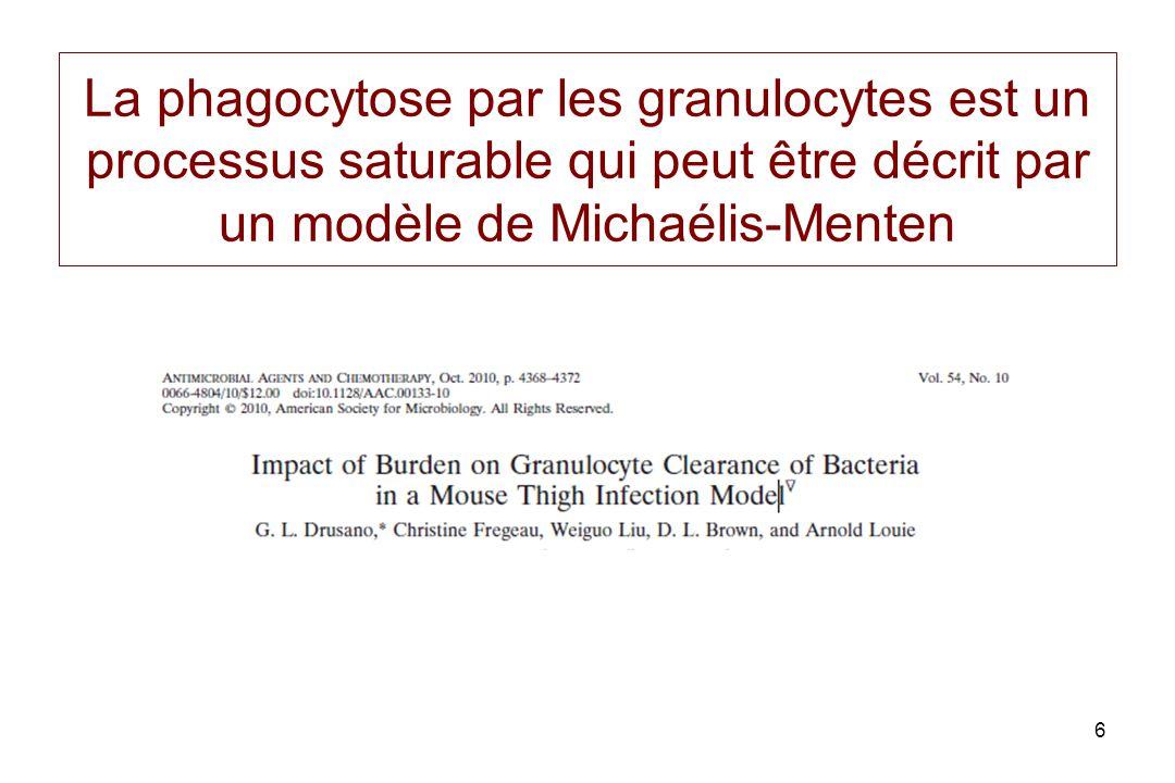 La phagocytose par les granulocytes est un processus saturable qui peut être décrit par un modèle de Michaélis-Menten 6