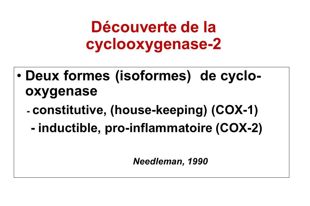 Découverte de la cyclooxygenase-2 Deux formes (isoformes) de cyclo- oxygenase - constitutive, (house-keeping) (COX-1) - inductible, pro-inflammatoire