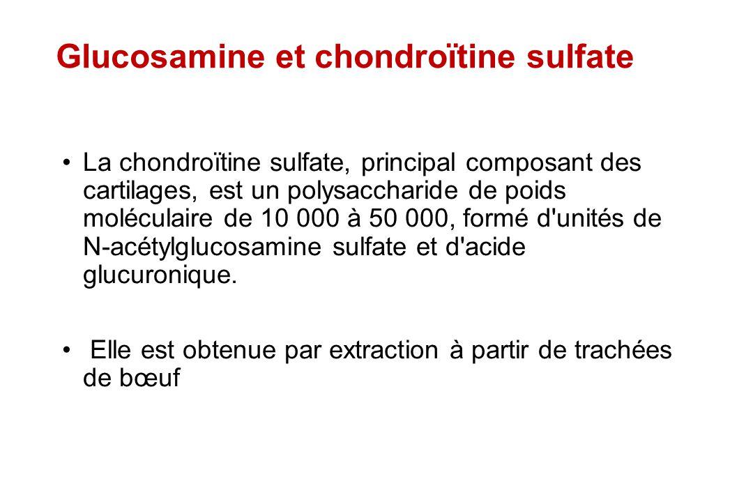 Glucosamine et chondroïtine sulfate La chondroïtine sulfate, principal composant des cartilages, est un polysaccharide de poids moléculaire de 10 000