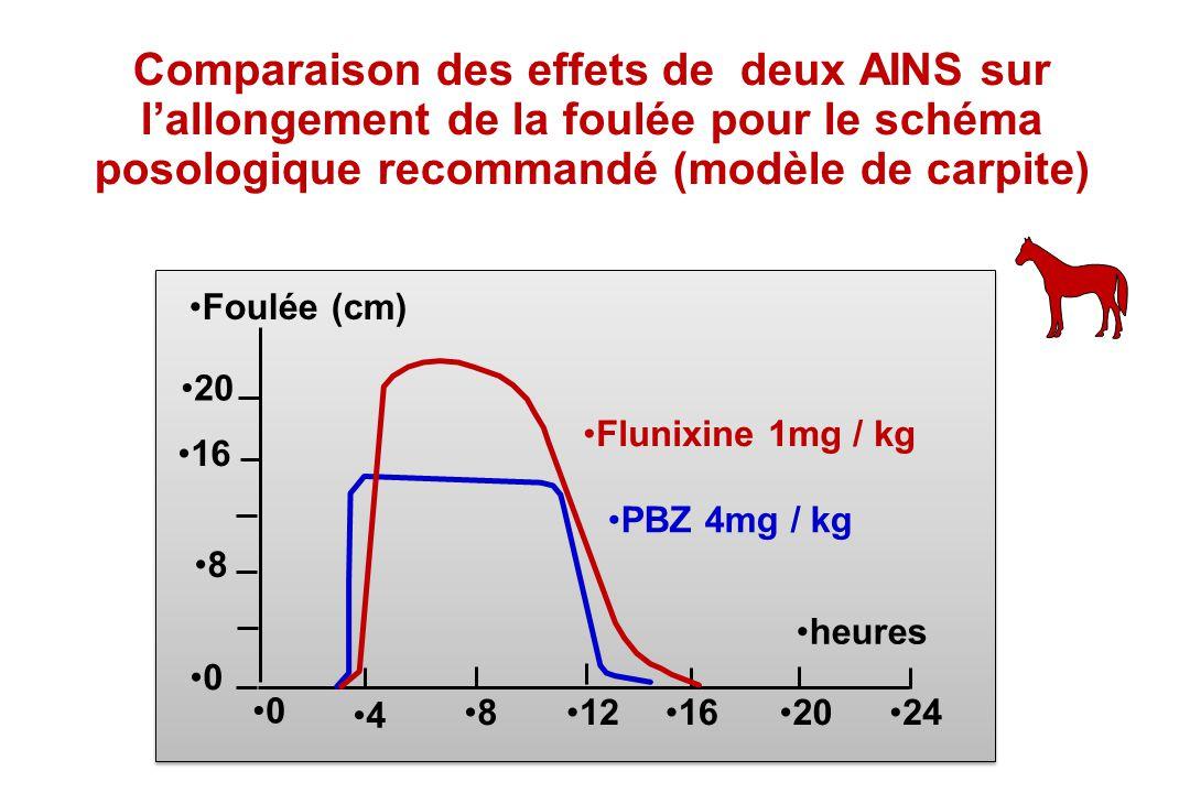 8 0 0 4 812162024 heures Foulée (cm) Flunixine 1mg / kg PBZ 4mg / kg 16 20 Comparaison des effets de deux AINS sur lallongement de la foulée pour le s