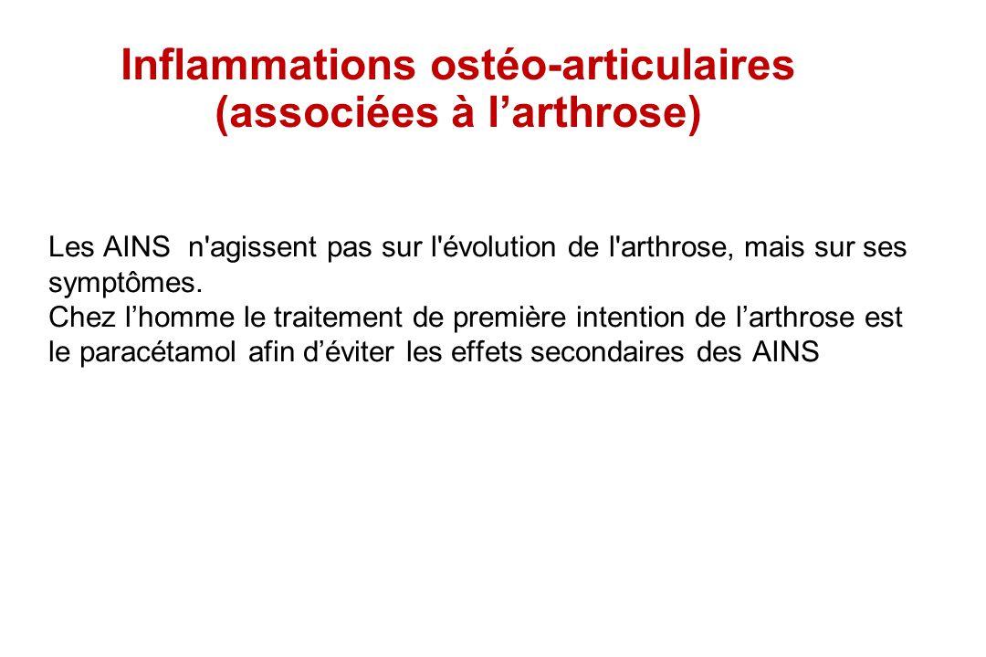 Inflammations ostéo-articulaires (associées à larthrose) Les AINS n'agissent pas sur l'évolution de l'arthrose, mais sur ses symptômes. Chez lhomme le