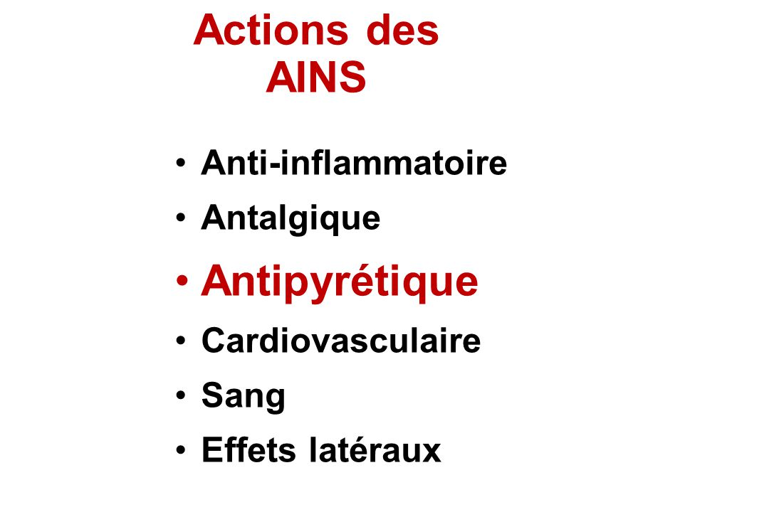 Actions des AINS Anti-inflammatoire Antalgique Antipyrétique Cardiovasculaire Sang Effets latéraux