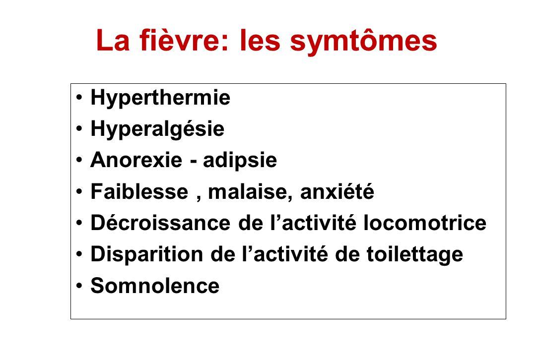 La fièvre: les symtômes Hyperthermie Hyperalgésie Anorexie - adipsie Faiblesse, malaise, anxiété Décroissance de lactivité locomotrice Disparition de