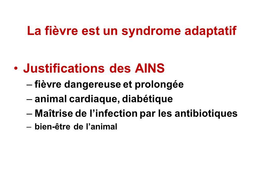 La fièvre est un syndrome adaptatif Justifications des AINS –fièvre dangereuse et prolongée –animal cardiaque, diabétique –Maîtrise de linfection par