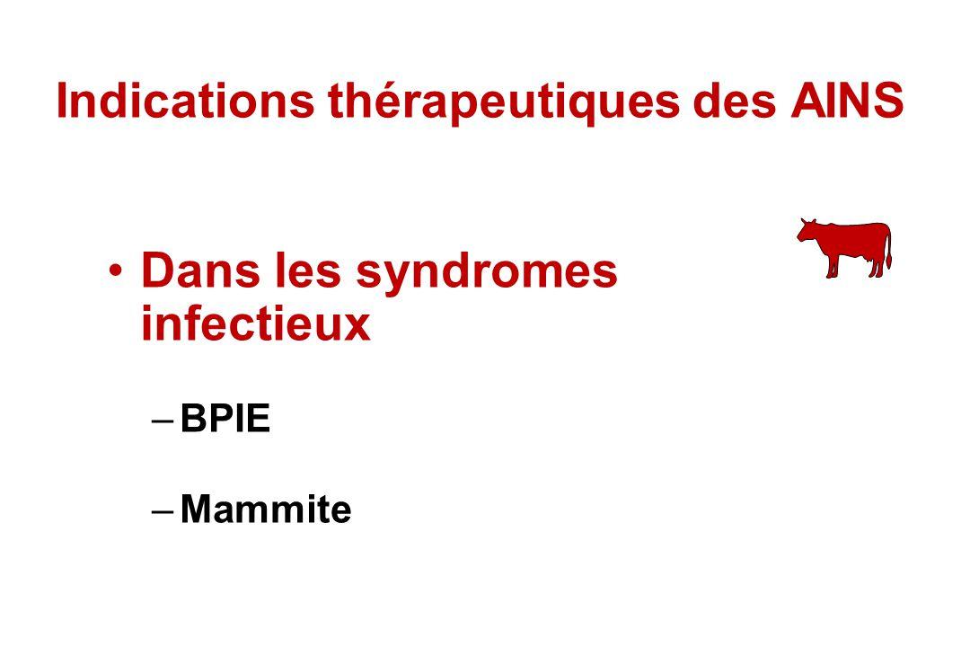 Indications thérapeutiques des AINS Dans les syndromes infectieux –BPIE –Mammite