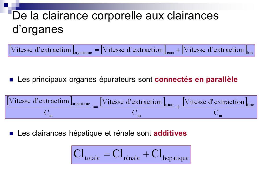 De la clairance corporelle aux clairances dorganes Les principaux organes épurateurs sont connectés en parallèle Les clairances hépatique et rénale so