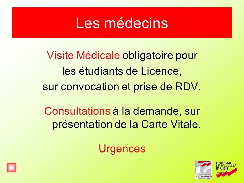 Les médecins Visite Médicale obligatoire pour les étudiants de Licence, sur convocation et prise de RDV. Consultations à la demande, sur présentation
