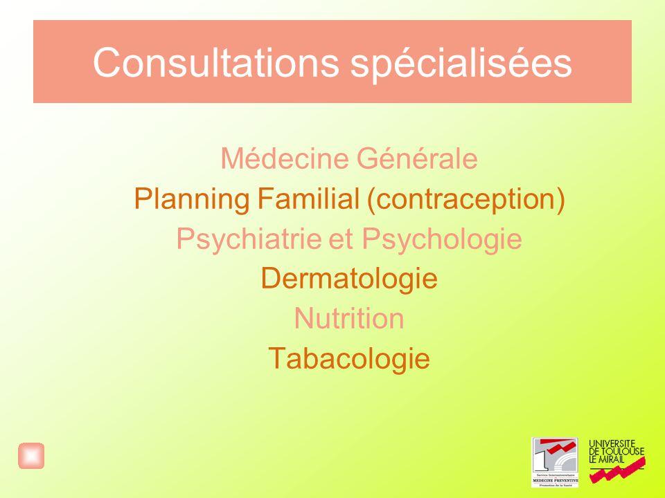 Consultations spécialisées Médecine Générale Planning Familial (contraception) Psychiatrie et Psychologie Dermatologie Nutrition Tabacologie