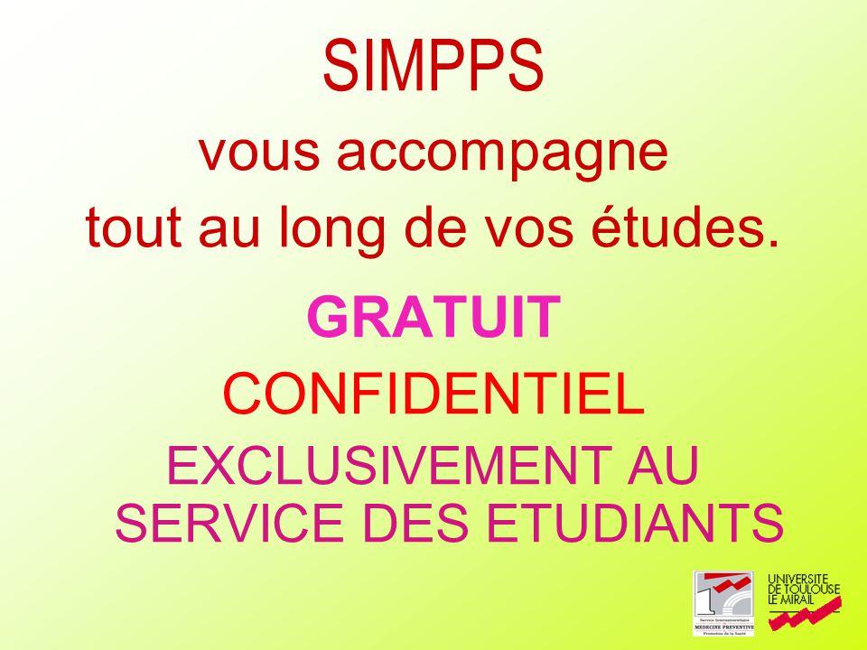 SIMPPS vous accompagne tout au long de vos études. GRATUIT CONFIDENTIEL EXCLUSIVEMENT AU SERVICE DES ETUDIANTS