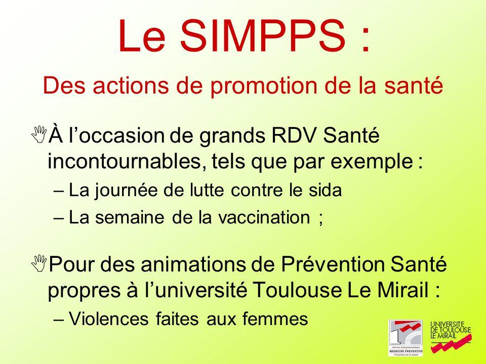 Des actions de promotion de la santé À loccasion de grands RDV Santé incontournables, tels que par exemple : –La journée de lutte contre le sida –La s