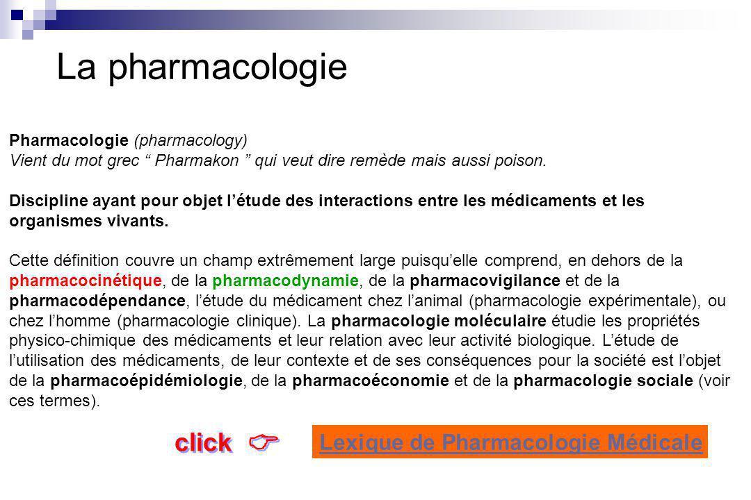 La pharmacologie Pharmacologie (pharmacology) Vient du mot grec Pharmakon qui veut dire remède mais aussi poison.