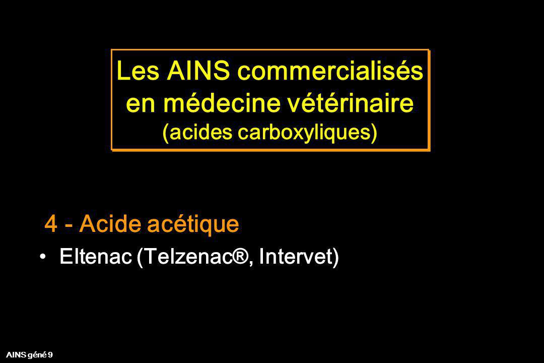 Les AINS commercialisés en médecine vétérinaire (acides carboxyliques) Les AINS commercialisés en médecine vétérinaire (acides carboxyliques) 4 - Acid